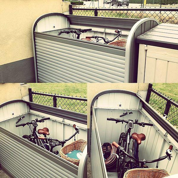 StoreMax 190 quarzgrau-metallic mit zwei Fahrrädern