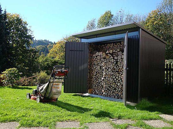 Biohort Gerätehaus Gartenhaus aus Metall AvantGarde als Brennholzlager