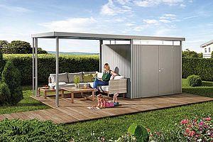 Biohort Metall-Gerätehaus HighLine mit Seitendach, Gartenhaus quarzgrau-metallic