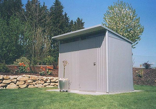 Biohort Gartenhaus aus Metall AvantGarde, Gerätehaus silber