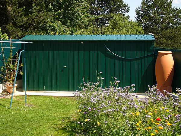 Biohort Gartenhaus Europa zusammengebaut dunkelgruen, Zusammenbauhaus Geäteschuppen