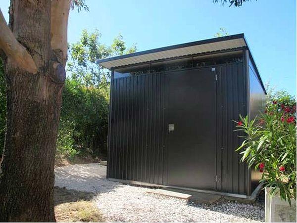 Biohort Gartenhaus aus Metall AvantGarde, Gerätehaus dunkelgrau XL