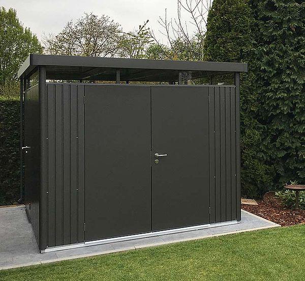 Biohort Gerätehaus HighLine dunkelgrau, Gartenhaus aus Metall