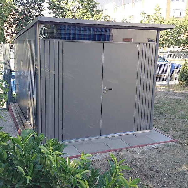 Biohort Gartenhaus aus Metall AvantGarde, Gerätehaus quarzgrau-metallic