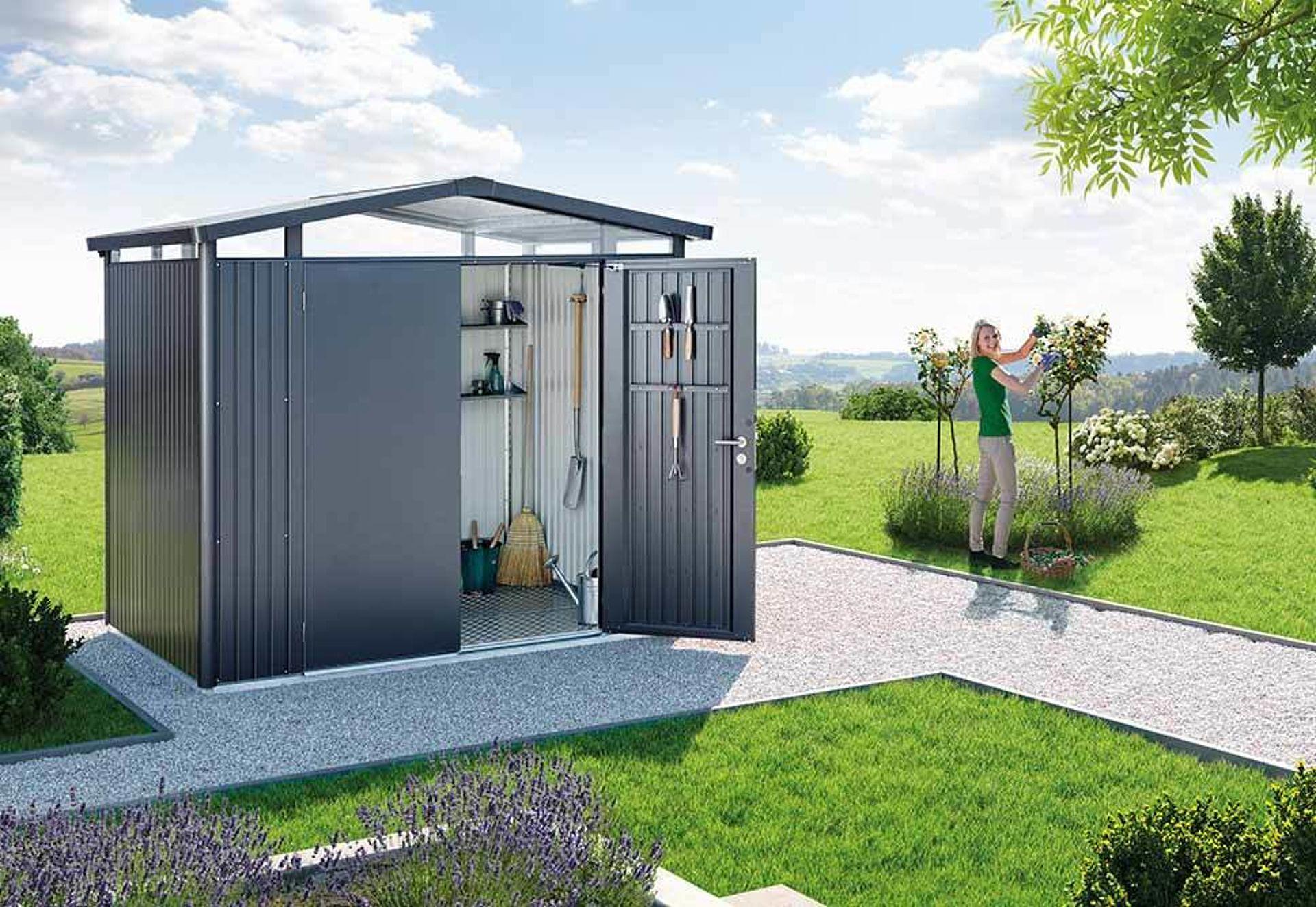 Gerätehaus Panorama Größe P2 Farbe dunkelgrau-metallic