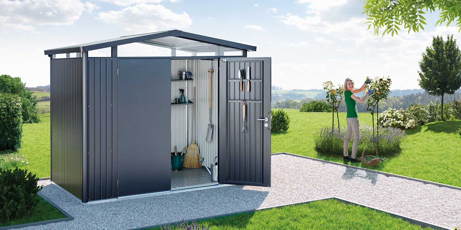 moderne ger teh user gartenh user und boxen aus metall. Black Bedroom Furniture Sets. Home Design Ideas
