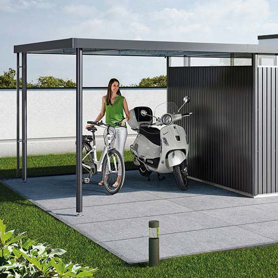 Biohort Fahrradunterstand Metall-Gerätehaus HighLine mit Seitendach, Gartenhaus dunkelgrau-metallic