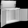 Biohort Gartenbox HighBoard Gr. 160 in silber-metallic mit geöffnetem Deckel und geöffneten Türen