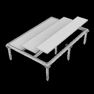 Erdschrauben-Fundament für Geräteschrank