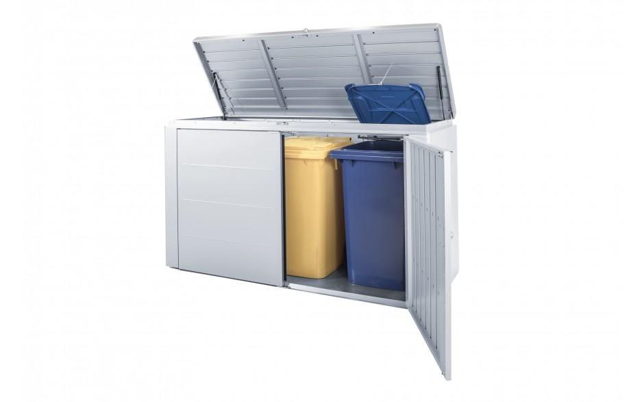 HighBoard Gr. 200 in silber-metallic für bis zu 3 x 240 l Mülltonnen - Mit praktischer Halterung zum Öffnen des Mülltonnendeckels.