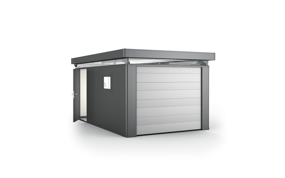 CasaNova 3x5 in dunkelgrau-metallic mit Deckensektionaltor und Zusatztür - Deckensektionaltor und Zusatztür gegen Aufpreis erhältlich