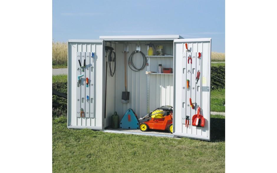 Umfangreiche Grundausstattung - Regale-Set, 2 Regalsteher, 4 Gerätehalter, Ordnungssystem an den Türinnenseiten