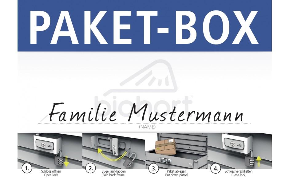 PAKET-BOX Namensaufkleber / Bedienungsanleitung