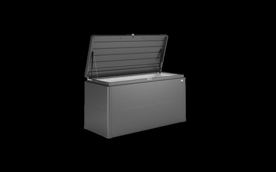 LoungeBox Gr. 160 dunkelgrau-metallic - (Aluminium)Deckel geöffnet
