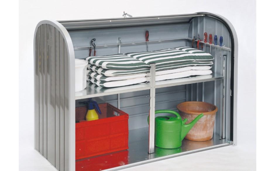 Optional: Zwischenboden - 2-teiliger, feuerverzinkter Stahlboden mit Regalstützen, Traglast ca. 100kg für Größe 160 & 190
