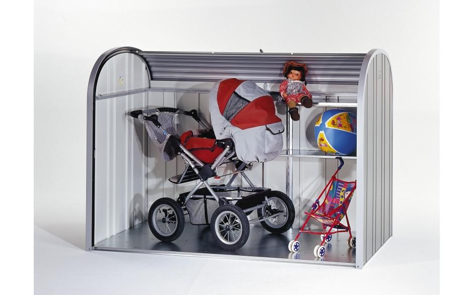 Kinderwagengarage -  So vielseitig ist der Biohort StoreMax. Das abgebildete Regal-Set ist als Zubehör erhältlich.