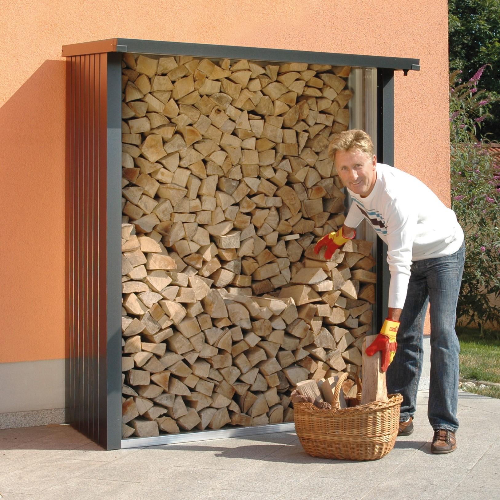 Kaminholzregal außen  Biohort WoodStock® - das schöne Kaminholzregal aus Metall