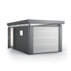 CasaNova 3x5 in metallic-dark grey with sectional overhead garage door and additional door