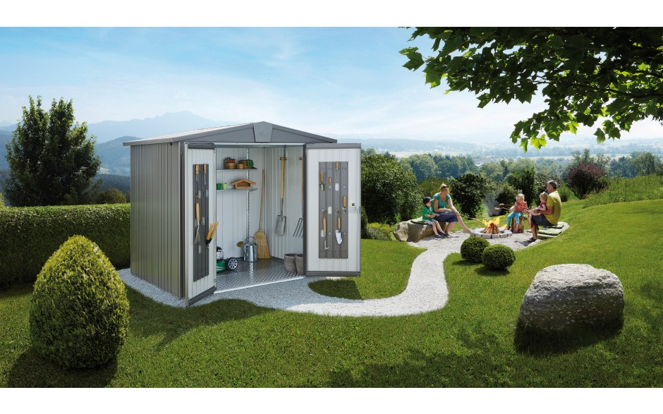Garden shed Europa size 3 in metallic quartz grey