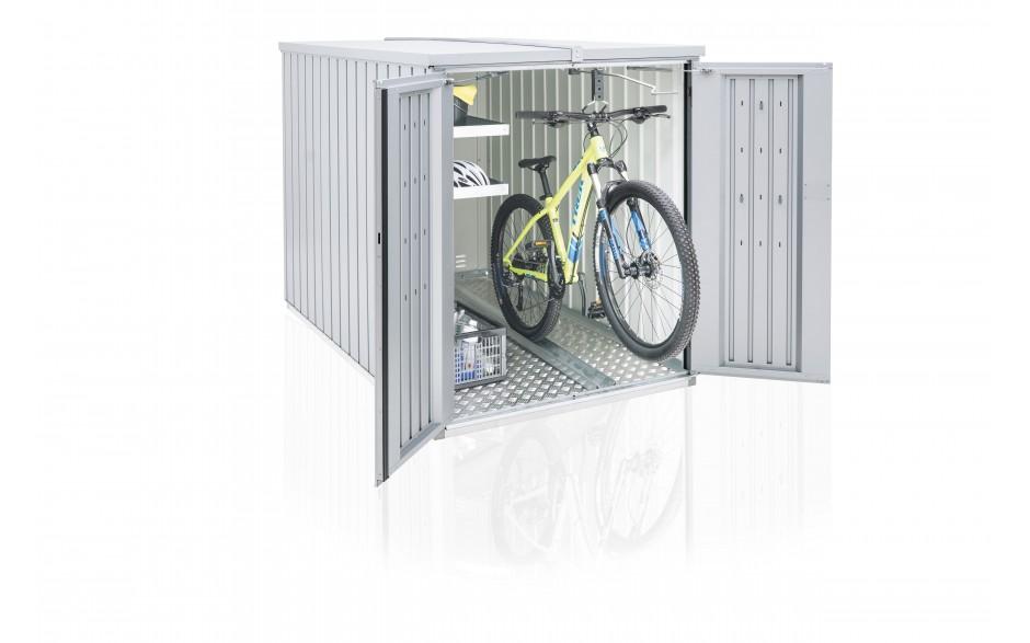 Anwendungsfall mit einem Regalsystem und einer Fahrradhängeschiene