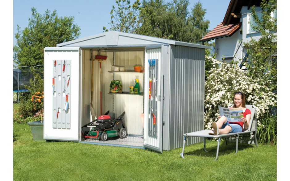 Garden Shed Europa in metallic-silver
