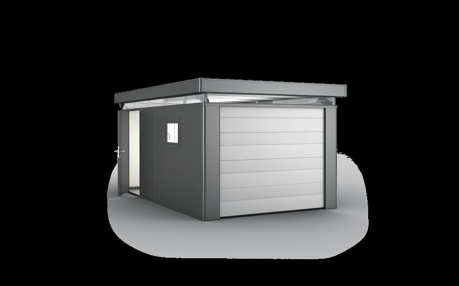 CasaNova 3 × 5 en gris oscuro metalizado con puerta seccional y puerta adicional