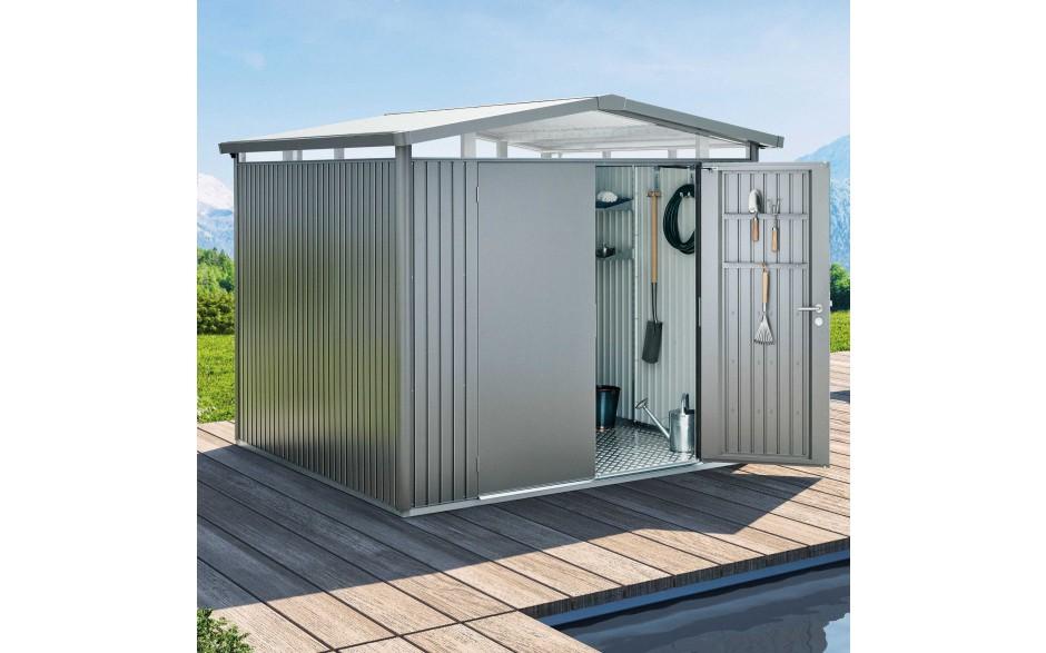 Abri de jardin panorama p5 gris quartz m tallique porte for Porte metallique jardin