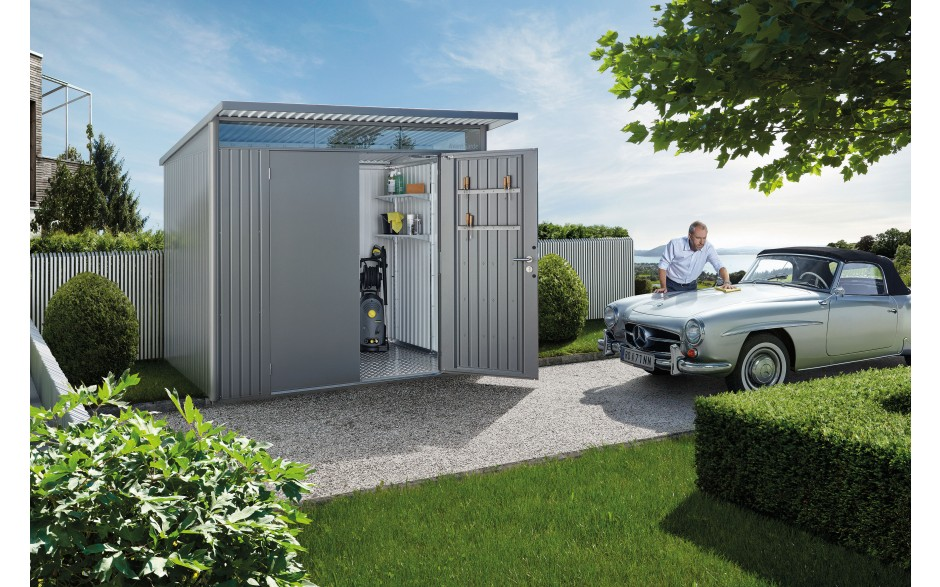 Abri de jardin biohort avantgarde moderne avec toit en for Abri jardin metallique