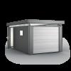 CasaNova 3x5 in metallic-dark grey with sectional overhead garage door and additional door
