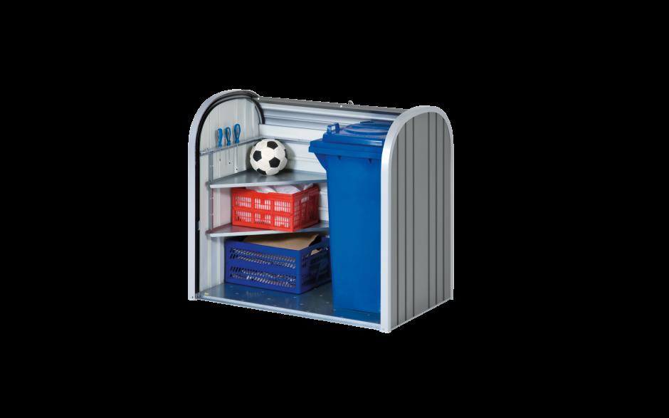 StoreMax 120 quarzgrau-metallic mit Eckregale-Set als Zubehör erhältlich