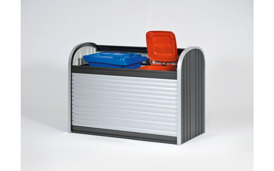 Mülltonnenbox - Praktisch für den schnellen Zugriff. Das zweigeteilte Öffnungssystem mit leicht gleitendem Rolladen.