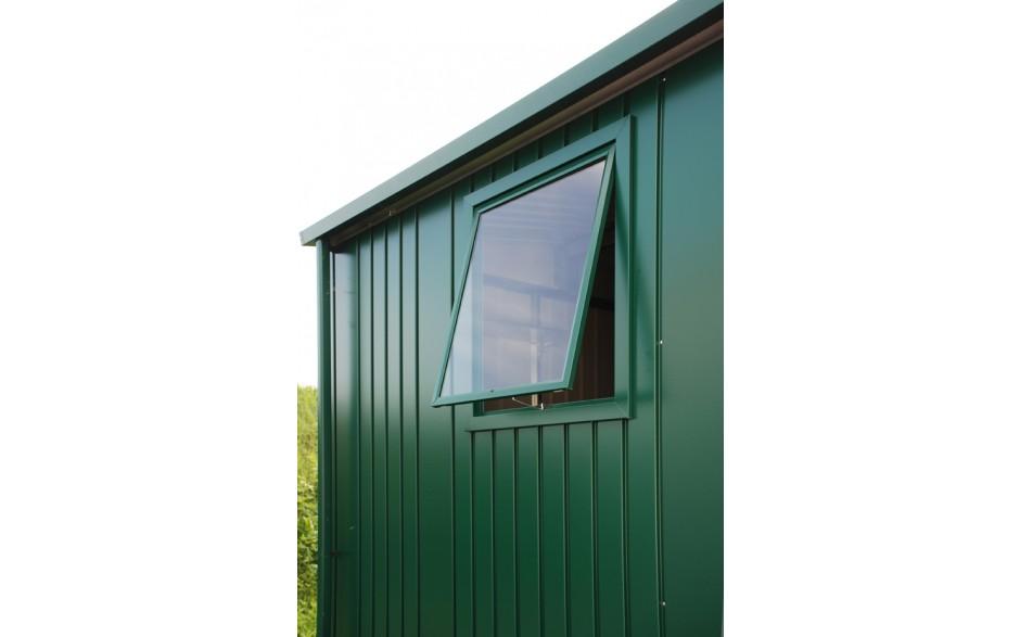 Fenster-Element - Das komplette Seitenwand-Element mit Metallrahmen-Ausstellfenster (Kunststoffglas) bringt Tageslicht ins Gerätehaus