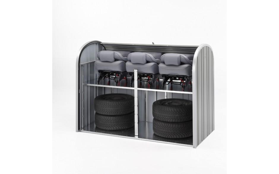 Autoreifen, Sitze lagern - kein Problem,  Im StoreMax ist alles formschön und sicher zwischengelagert. Abbildung: StoreMax 190 in quarzgrau Der abgebildete Zwischenboden ist als Zubehör erhältlich.